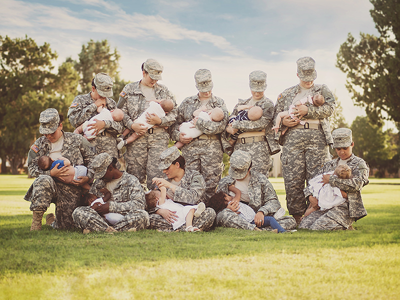 Active Duty Soldiers Pose For Photo Breastfeeding in Full Uniform