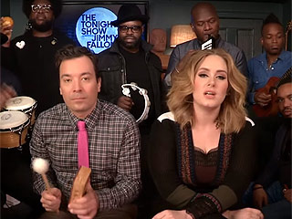 Watch Adele Sing 'Hello' With Jimmy Fallon and The Roots Using Classroom Instruments ...and a Toy Flip Phone