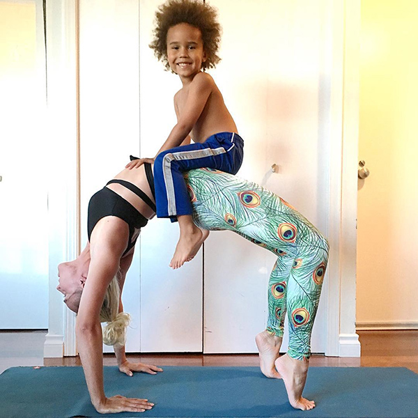 Josephine Jacob Gets Her Sons Involved in Yoga Poses in ...