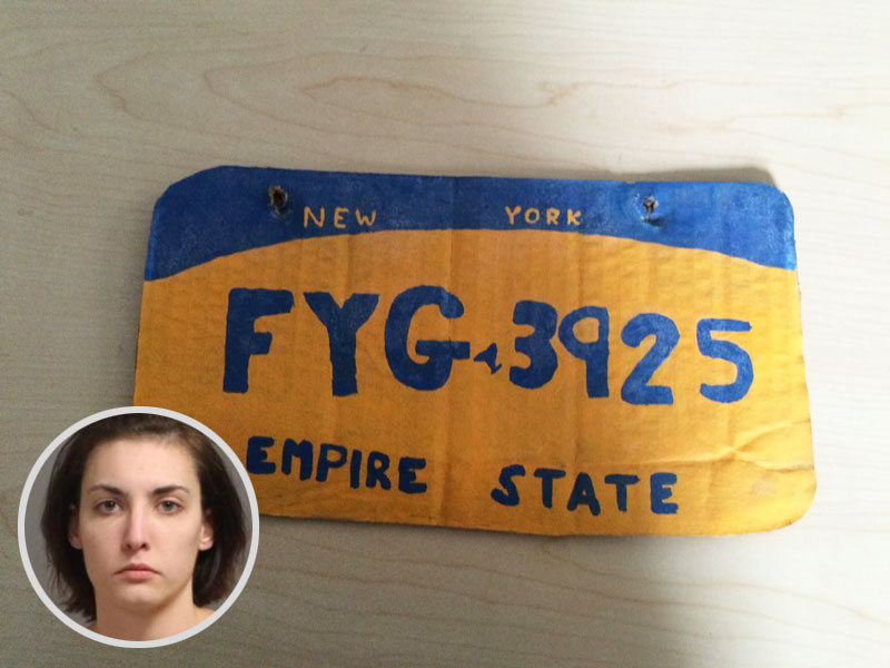 Woman Used Paint, Cardboard To Construct Car's License Plate