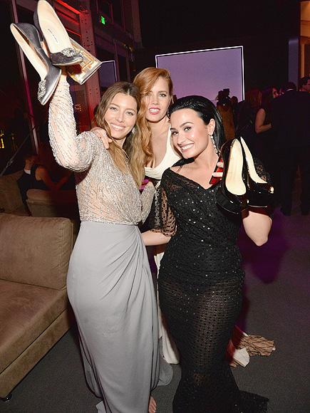 Jessica Biel, Demi Lovato, Amy Adams Kick Off Heels at Vanity Fair Oscar Party