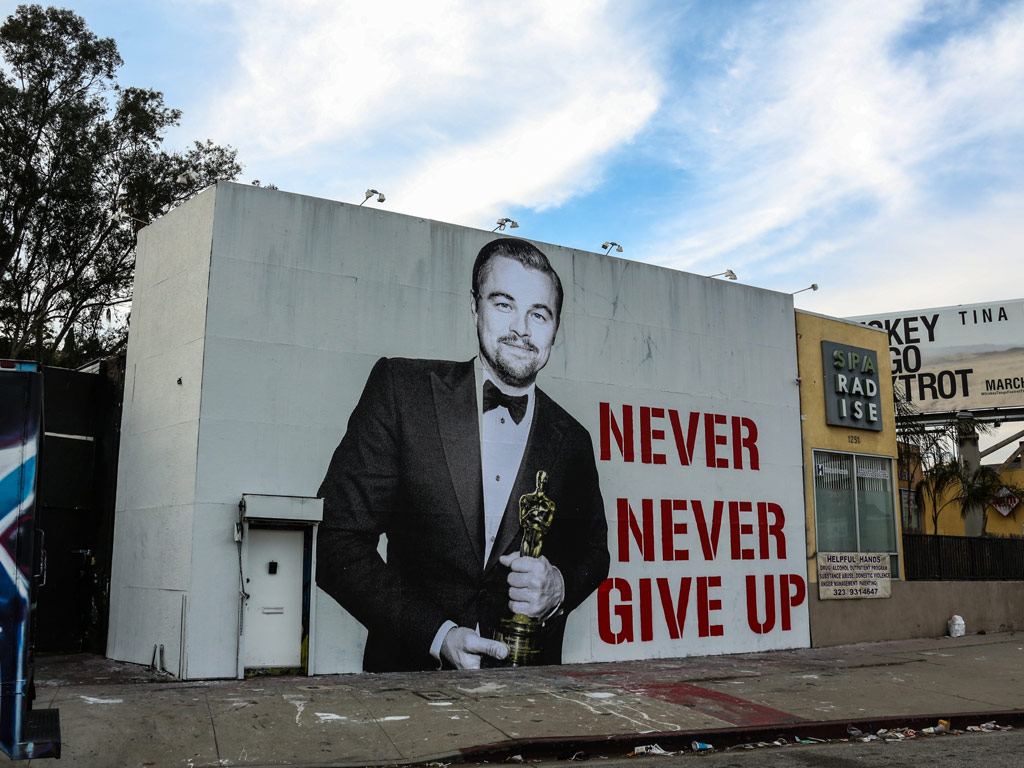 Leonardo DiCaprio's Big Oscar Win Commemorated with Street Mural in L.A.