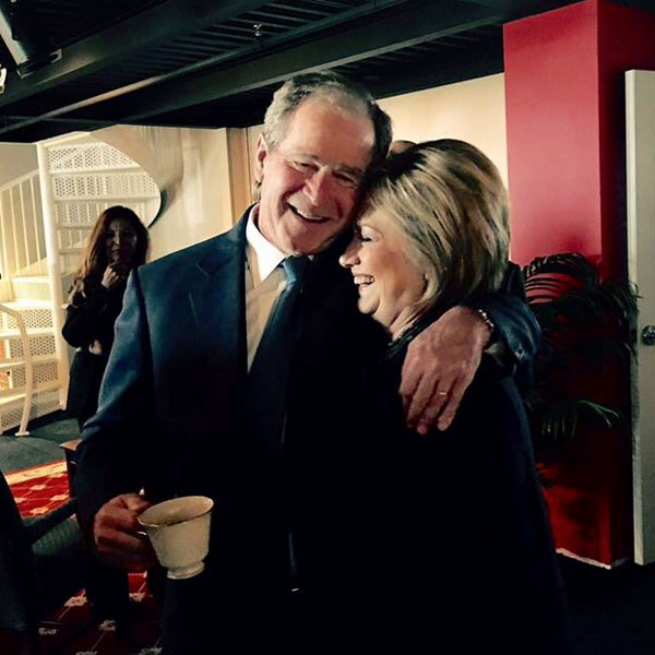 Hillary Clinton and George W. Bush Hug in Photo from Nancy Reagan's Funeral
