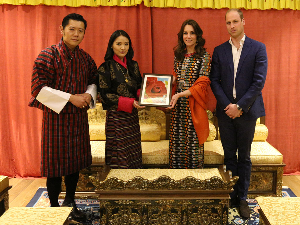 Prince William and Kate Middleton Gave the Queen of Bhutan a Rose