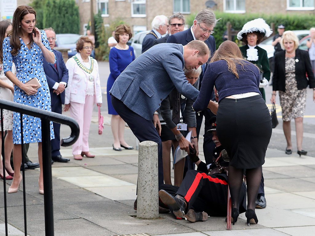Prince William Rushes to Help Dignitary Who Fell Over While Welcoming Him and Princess Kate at School Tour