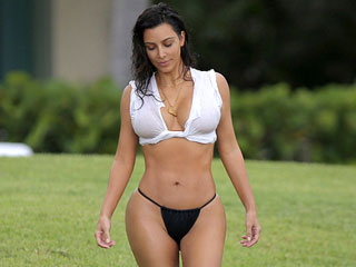 Kim Kardashian Pushes Swimwear Boundaries by Not Wearing Swimwear at All