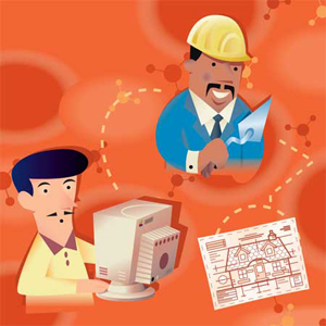 cartoon of man on computer communicating with contractor with plans