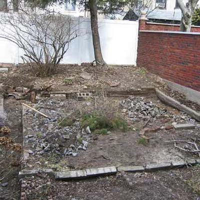 before: a bare and messy urban lawn