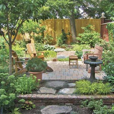 patio surrounded by lush green foliage