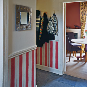 hand painted wainscot stripes