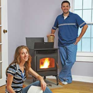 a pellet stove helped this couple save almost 75 percent on their heating bill