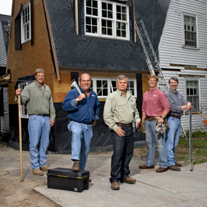 this old house crew gathered in front of a recent t o h t v house project