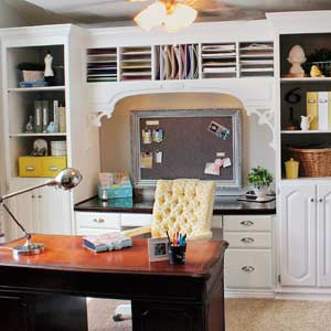 home office remodel after with diy built-in bookcases