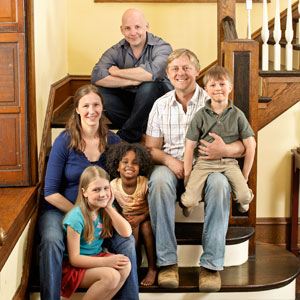 The editor and the 2012 Reader Remodel Contest winners, the Wallacavage family.