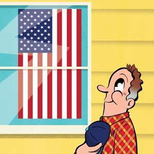 illustration of man saluting a displayed American flag