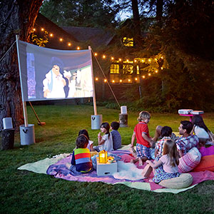 Diy movie night this old house mobile for Diy backyard theater seats