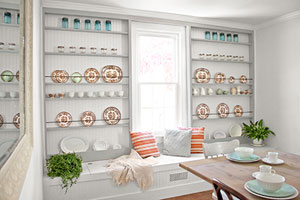 dining room with built-in display racks