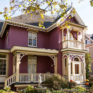exterior shot of a detailed victorian house painted in three colors