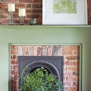 fireplace with red brick