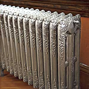 old fashioned painted steam radiator