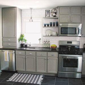 kitchen with polyurethane slate floor