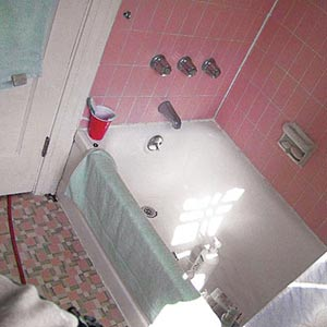 bathroom with ugly, old pink tile