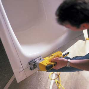 Cutting the worn tub