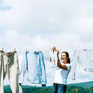 put up a clothes line as a green project