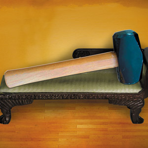hammer on a sofa