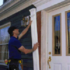 Install fluted columns with urethane adhesive and galvanized finishing nails