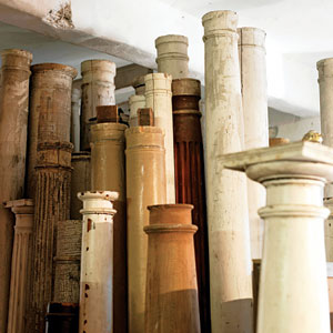 salvaged columns in salvage yard