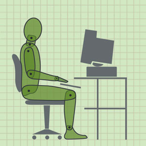 the healthy way to sit at a desk