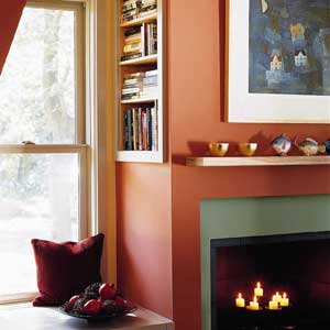 fireplace wall in a casual living room