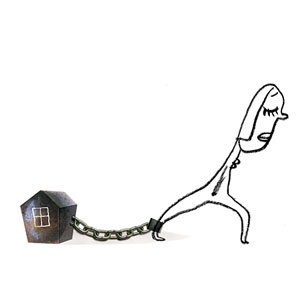 not my dream house illustration with house and chain