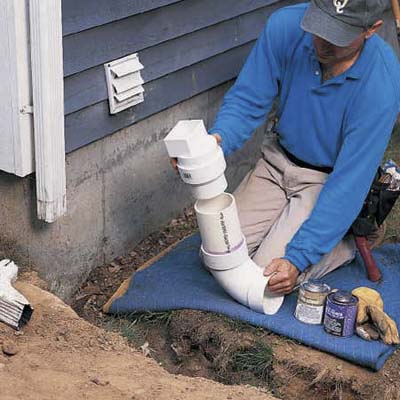 Install The Starter Elbow How To Extend A Downspout