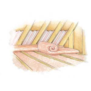 To install fiberglass batts over existing insulation, lay the batts perpendicular to the joists so they do not compress the insulation below.