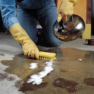 How to get rid of grease stains all floors flooring for Remove oil from concrete floor