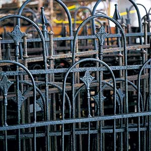 Salvaged wrought-iron fencing