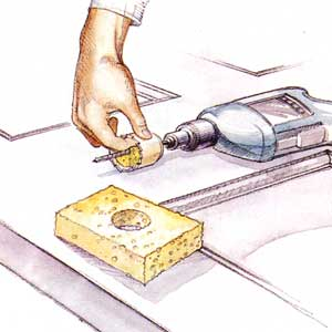 sponge and hole saw