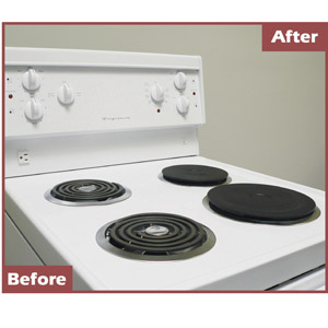 before and after image of a stovetop