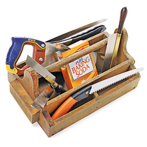 box containing tools and baking soda