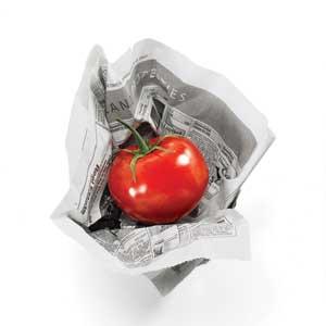 tomato in newspaper