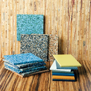 natural materials for walls, floors, and countertops