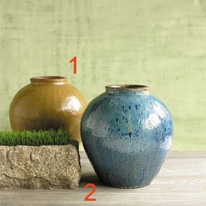 Glazed Ceramic and Limestone Planters