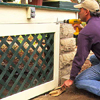 Hang the framed-lattice panels