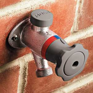 exterior hot-water faucet hose bib