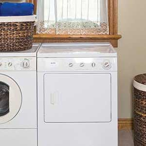 a dryer in a laundry room