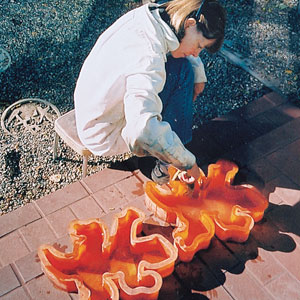 reader with gecko paver molds