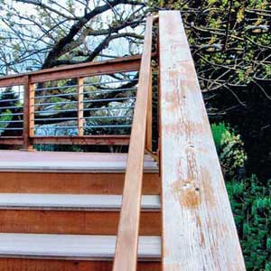 a deck railing shown to be fading from frequent rainfall and direct sun