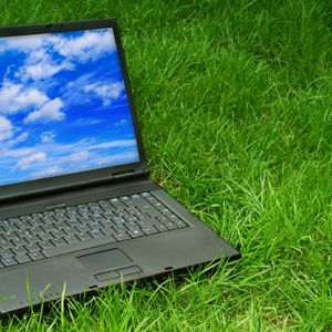 laptop on lawn